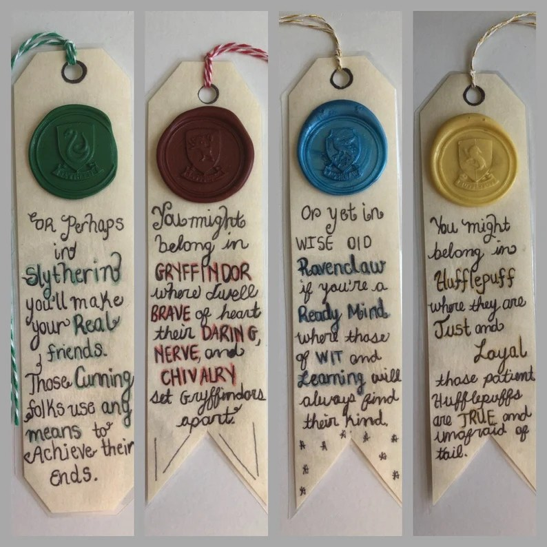 Harry Potter Hogwarts House Bookmarks Slytherin Hufflepuff image 0