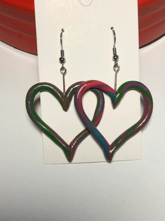 Nickel free polymer clay heart earrings // Polymer clay image 0
