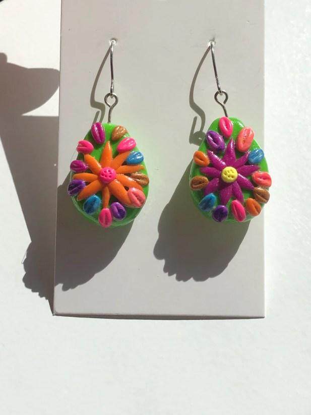 Polymer clay nickel free flower earrings Floral jewelry image 0