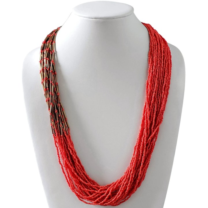 Multi-layered Fine Coral Seed Bead and Bronze Bead Long image 0
