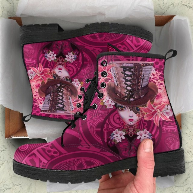 Lace up top hat steampunk boots in pink by Darkwhistle.