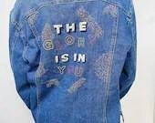 "Upcycled Hand Embroidered Denim Jacket - ""Glory"""
