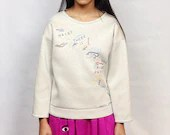 """Upcycled Hand Embroidered Calvin Klein Neoprene Sweatshirt - """"The Right Path"""""""