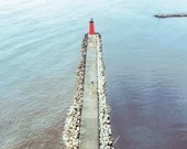 Aerial View of Lake Michigan Lighthouse Pier