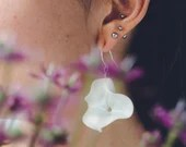 Porcelain handmade earrings with Sterling Silver, organic shaped one of a kind jewelry, present for her