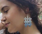 Handmade porcelain weave earrings, unique statement jewelry, one of a kind present for her