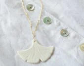 Handmade porcelain Ginkgo necklace, white and Vermeil, unique oresent for her
