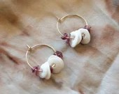 Gold Filled hoops with handmade porcelain discs and purple natural stone, one of a kind present for her