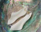 Porcelain handmade earrings with stainless steel hoops, present for her