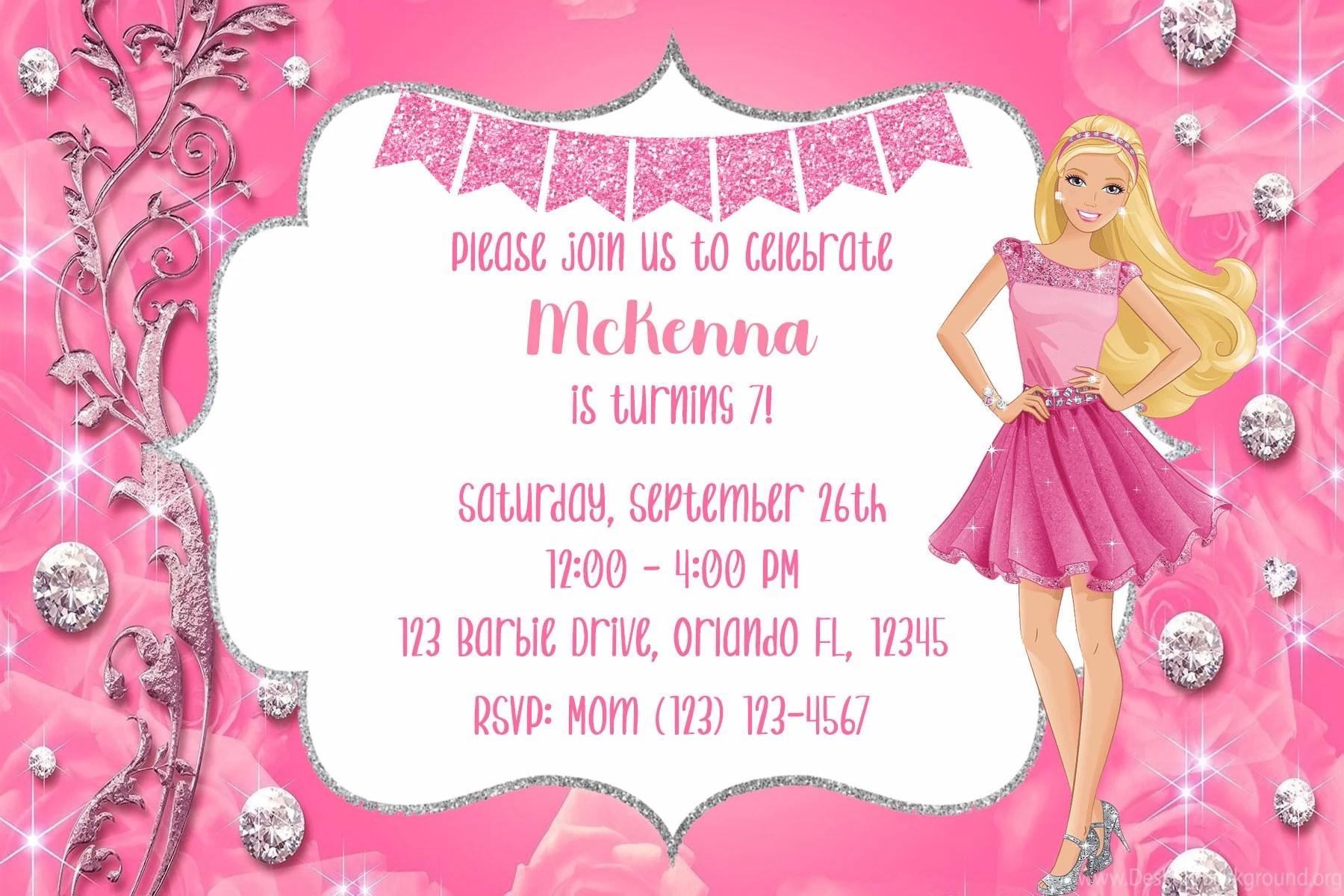barbie birthday invitation barbie invitation digital file