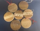 Set of 7 Handcrafted Wooden Ornaments - Inspirational