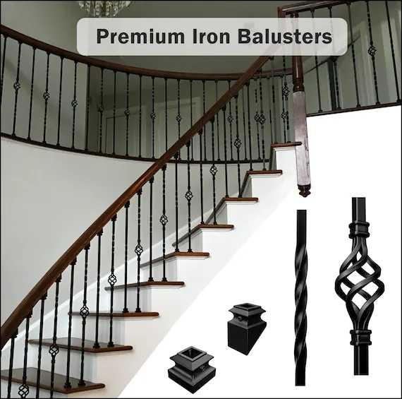 Premium Iron Balusters Iron Spindles Iron Stair Parts Etsy   Black Metal Railing For Stairs   Rail   Double Basket   Kid Safe   Residential   Modern