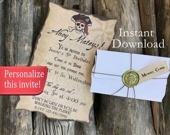 pirate invitations etsy