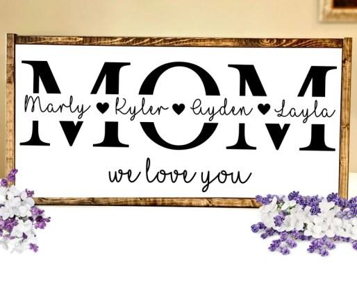Mom Wood Sign Mom Valentine Gift Valentines Day Gift for White 12X24