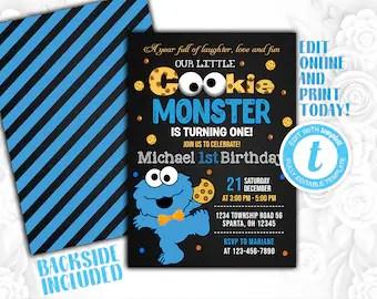 cookie monster invitation etsy