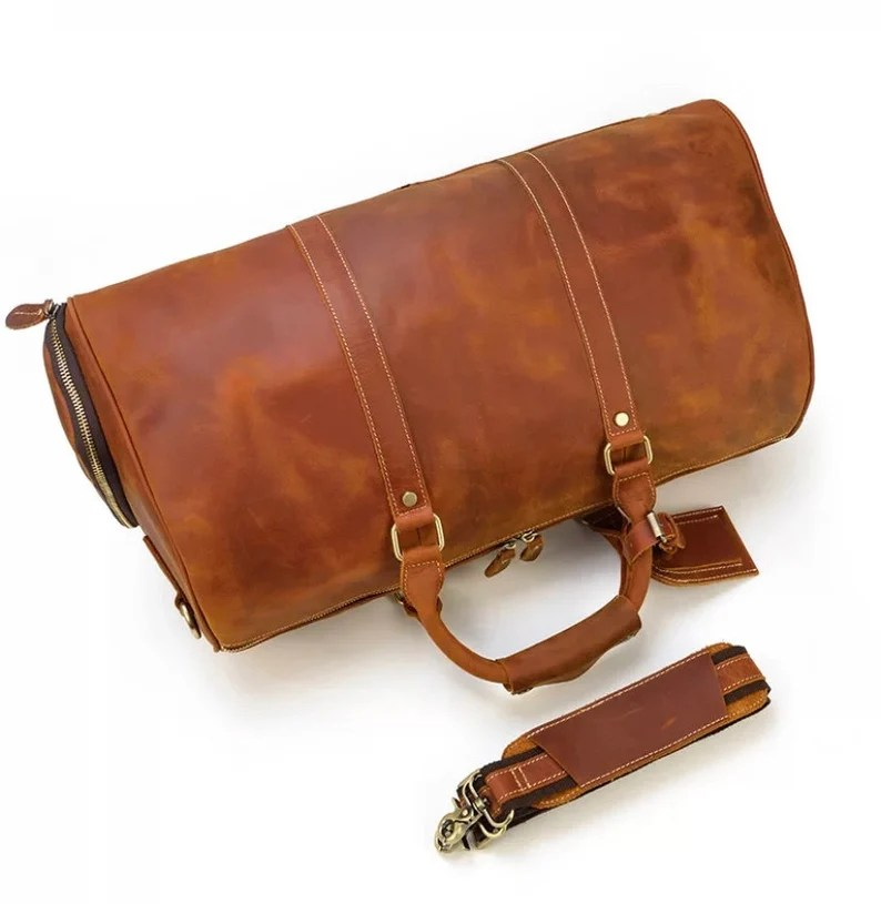 Handmade Leather Duffle Bag with Shoe Compartment Personalized image 4