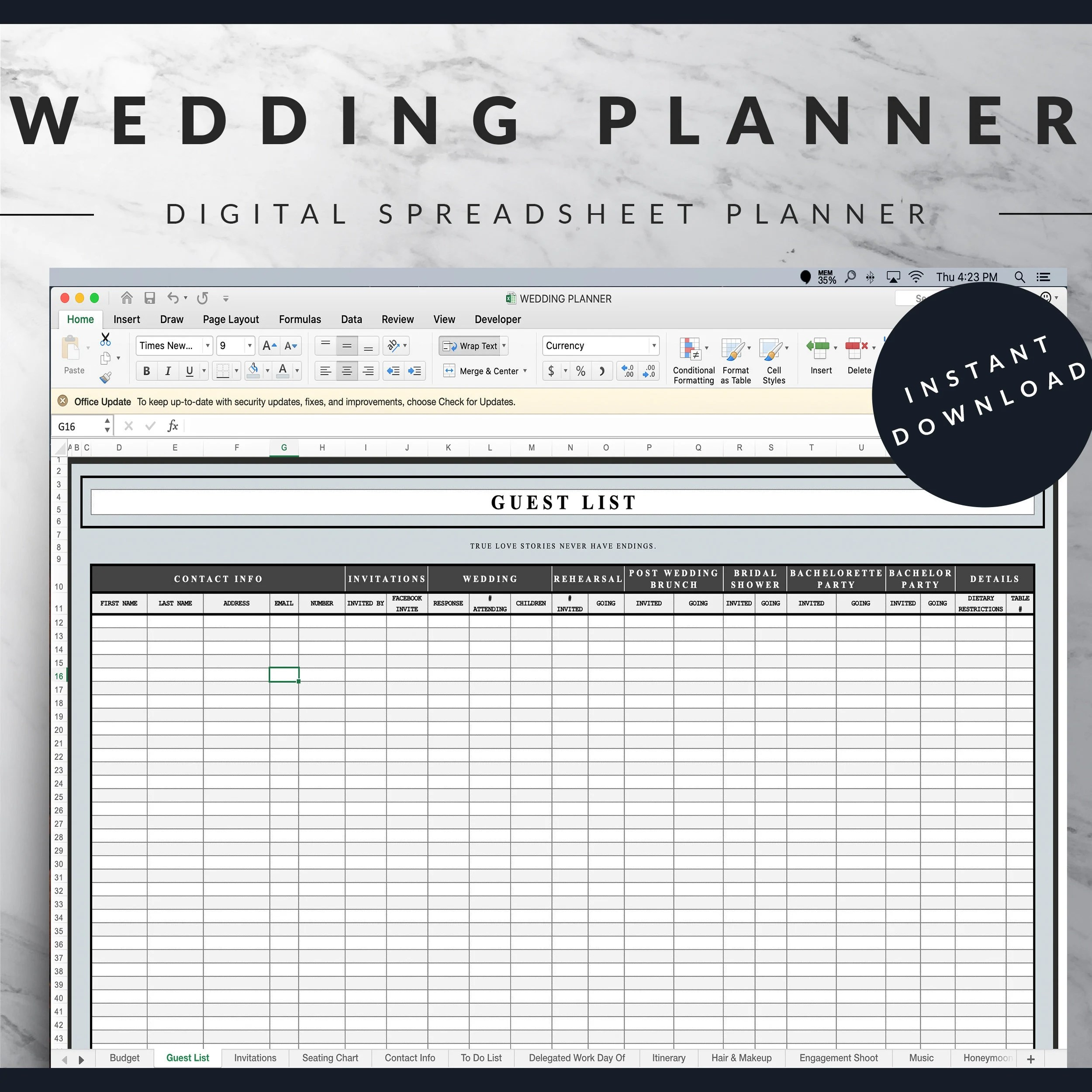 It gives you an overview of your weekly tasks/plans. Wedding Planner Bundle Light Blue Excel Spreadsheet And Etsy
