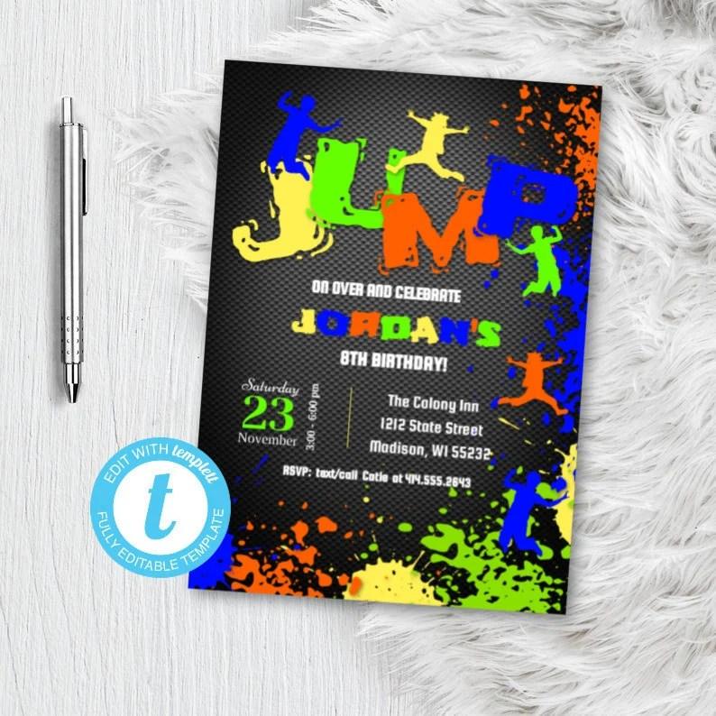 jump birthday party invitation boy sky