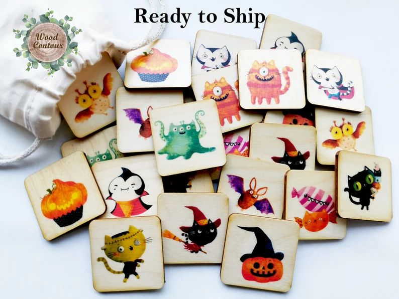 Halloween wooden memory game/ Homeschool Preschooler image 0