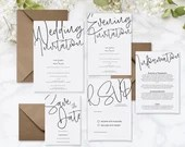 Minimalistic Wedding Evening Invitation on Laid Textured Card, Modern Script Invitiation - A6 and A5 size