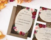 Rustic Burgundy Wedding RSVP - Wood with Burgundy Flowers RSVP - Floral Burgundy RSVP Card