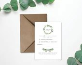 Wedding RSVP on Laid Textured Card - Foliage Eucalyptus Design - Envelope Included - A7, A6 sizes
