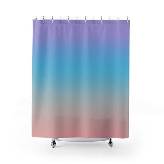 rainbow shower curtain ombre colors blue turquoise peach purple gradient kids extra long fabric bath curtains 70x70 71x74 70x83