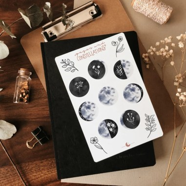 Sticker Sheet Lunar Blossoms Planner Stickers Journal image 0