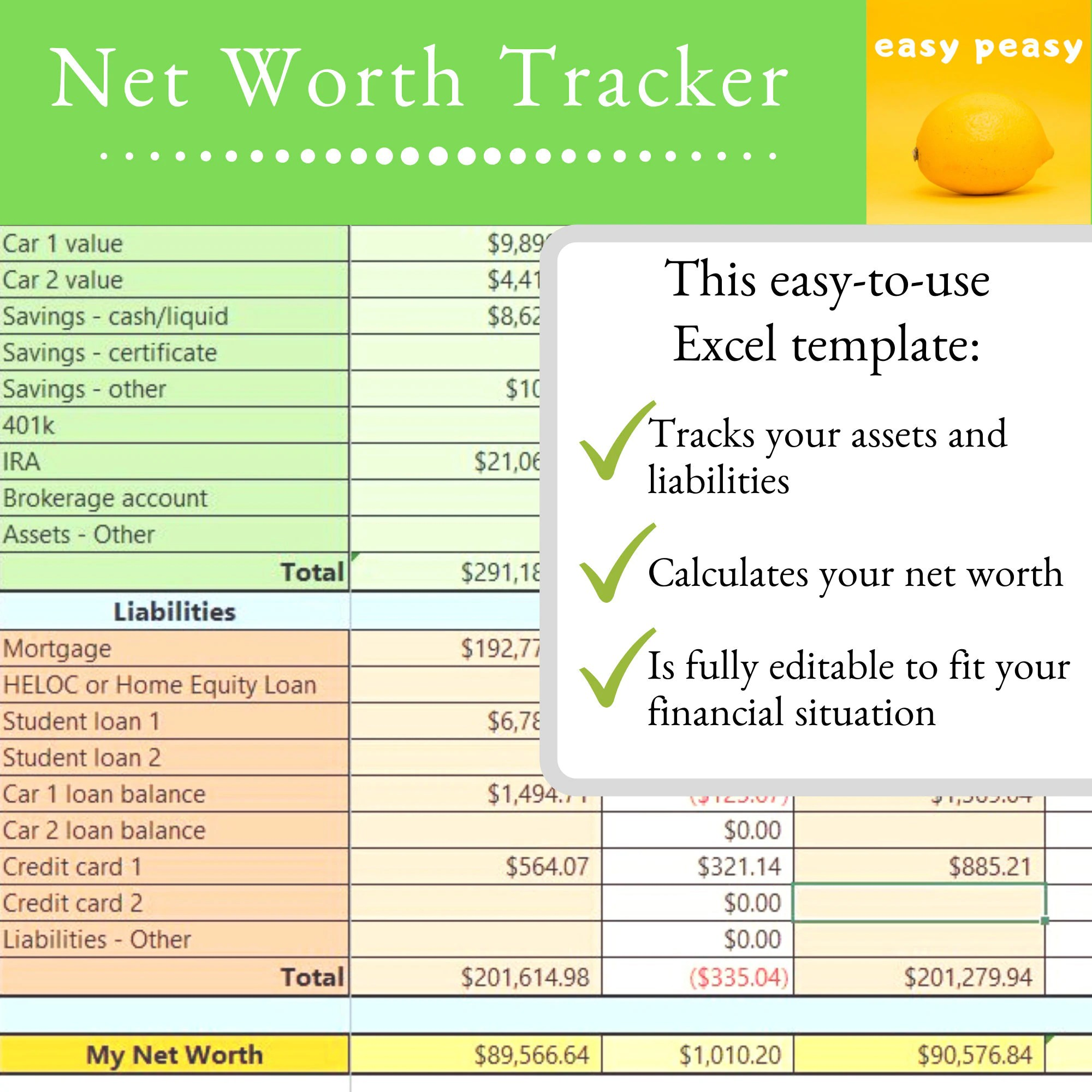 Net Worth Tracker Template Fully Editable Annual Worksheet