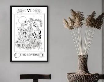lovers tarot poster etsy