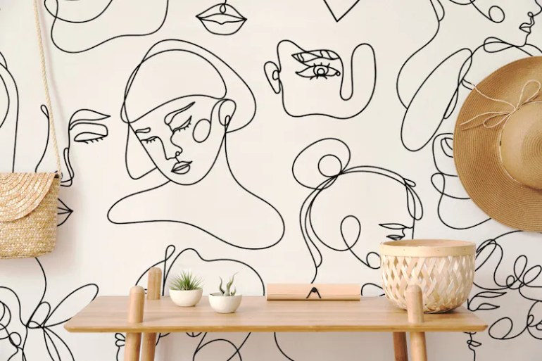Art Wallpaper Self Adhesive Peel and Stick Abstract Faces Wall Style 2
