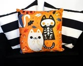 Cosy Book Cult skeleton cat ghost day of the dead cushion creepy Halloween gothic punk goth spooky pumpkin