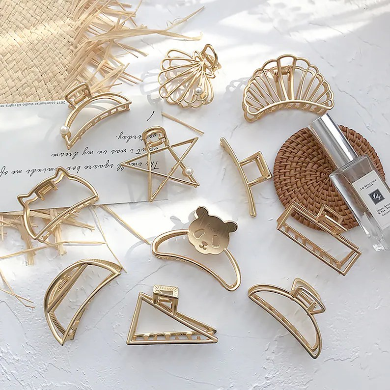 Minimalist Geometry Hair Claw Gold Hair Barrette Fashion image 0