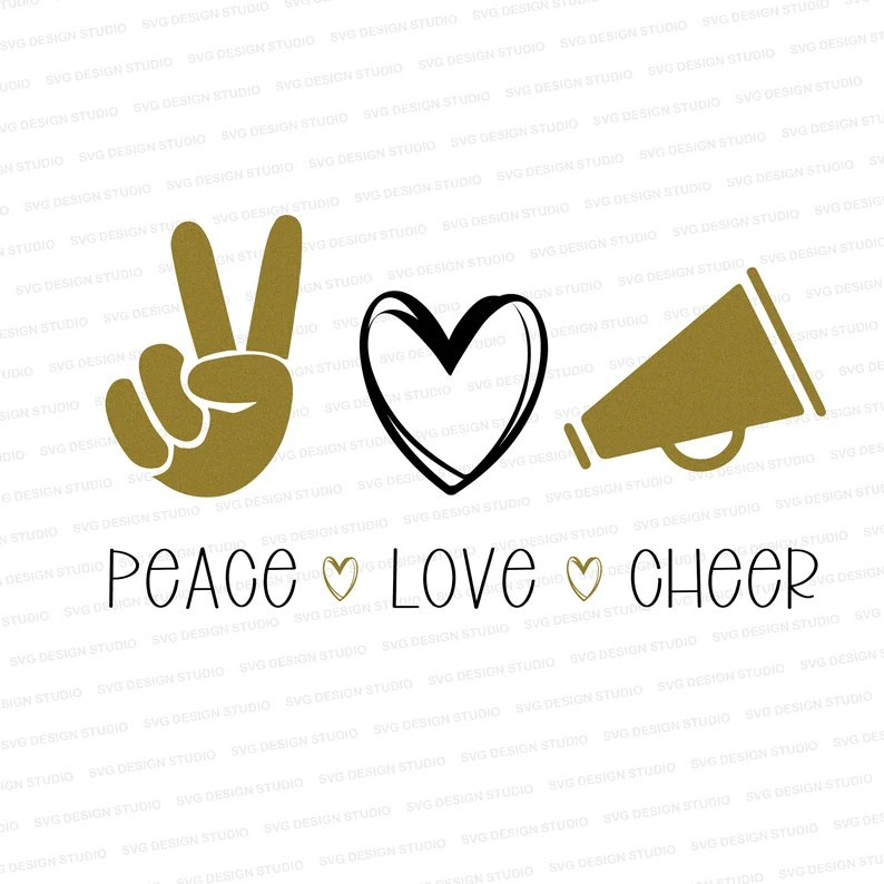 Download Peace Love Cheer Love Cheer SVG Cheer Cutter File Cheer | Etsy