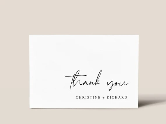 Thank You Cards Template Modern Minimalist Thanks Card Etsy