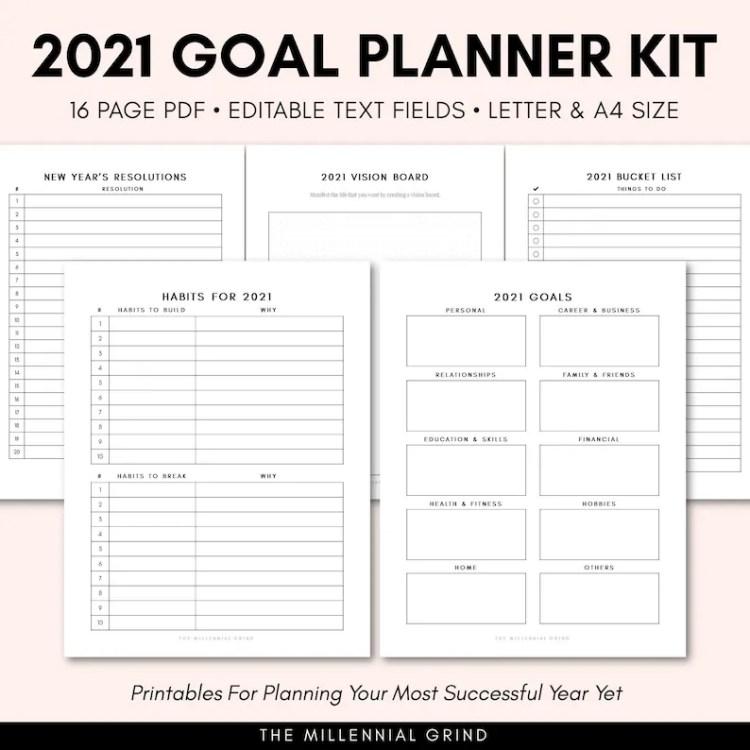 Goal Planner 2021  2021 Goal Tracker  2021 New Year Goal image 0