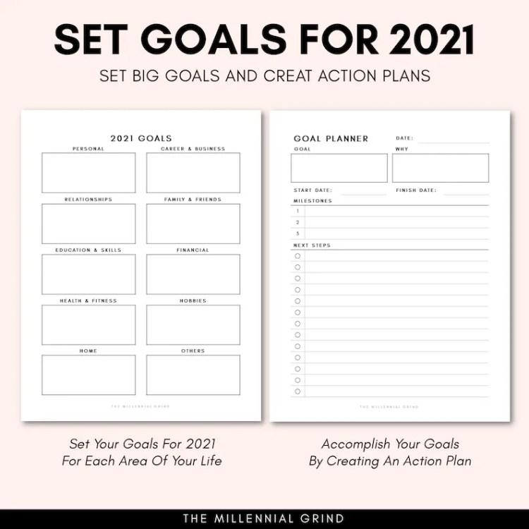 Goal Planner 2021 2021 Goal Tracker 2021 New Year Goal image 1