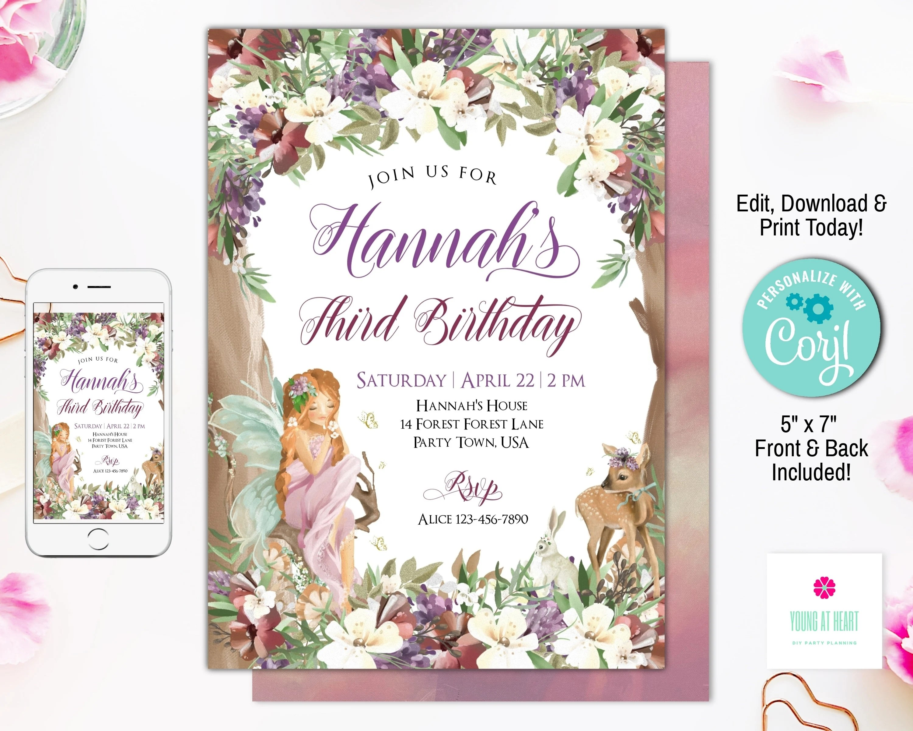 woodland fairy birthday invitation