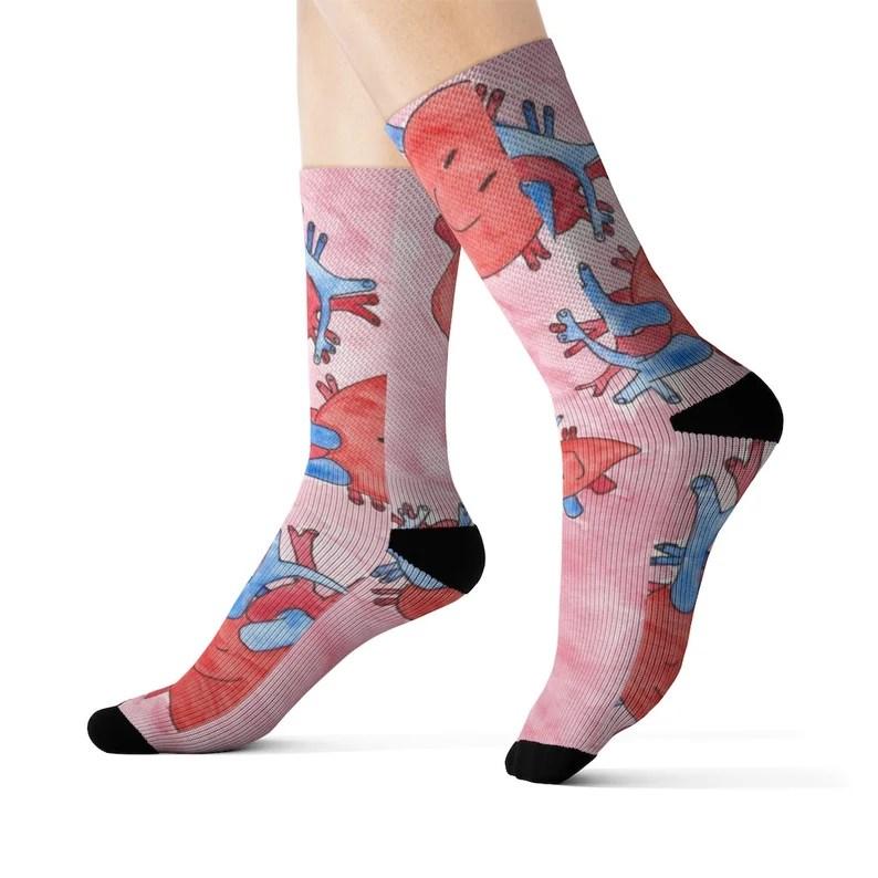Cool Art Socks 6  Retro custom gift aesthetic line art pop image 0