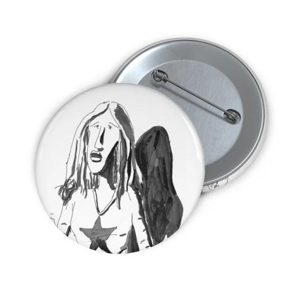 Cool Art Button Pin 25  Retro custom gift line art pop art image 0