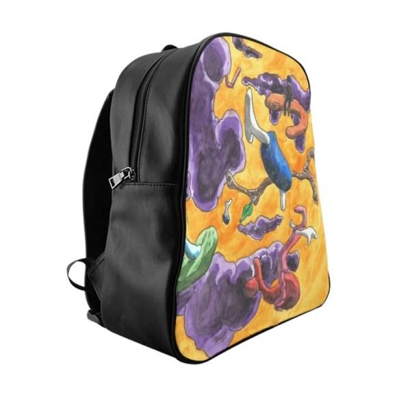Cool Art PU Leather Backpack 3 sizes 9  Retro custom gift image 0
