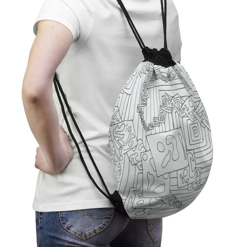 Urban Art Drawstring Bag 11  Retro custom gift aesthetic pop image 0