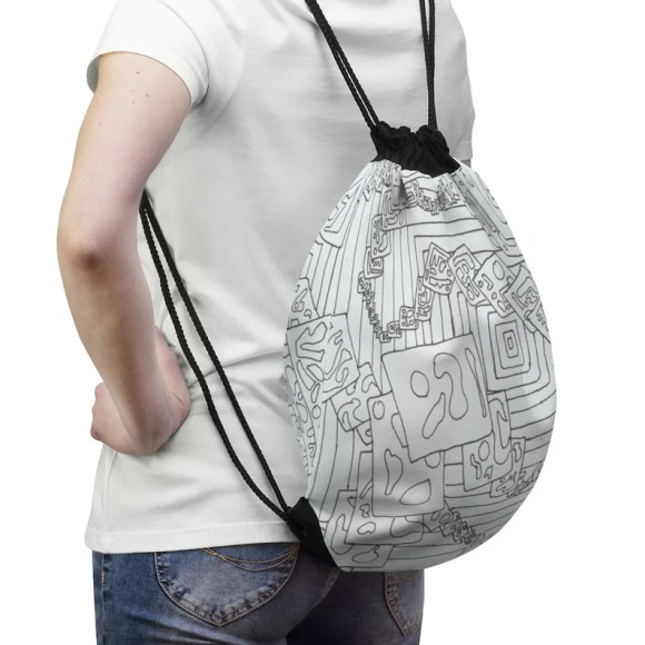 Cool Art Drawstring Bag 11  Retro custom gift aesthetic pop image 0