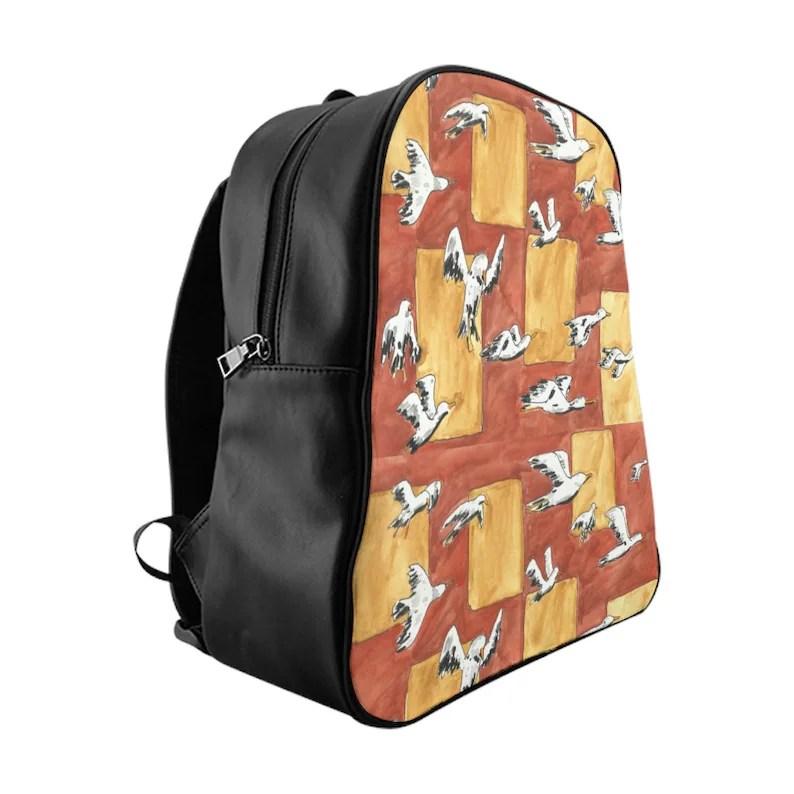 Urban Art PU Leather Backpack 3 sizes 6  Retro custom gift image 0