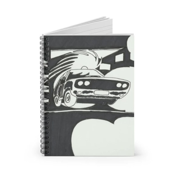 Ruled Line Spiral Notebook With Cool Art Cover 6  Retro image 0