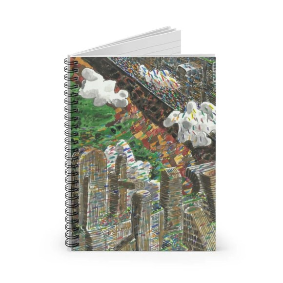 Ruled Line Spiral Notebook With Urban Art Cover 30  Retro image 0