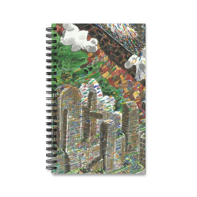 Spiral Journal With Urban Art Cover 13  Retro custom gift image 0