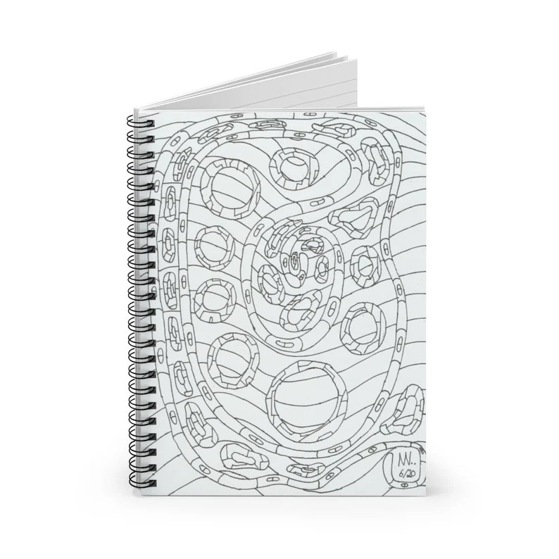 Ruled Line Spiral Notebook With Cool Art Cover 20  Retro image 0