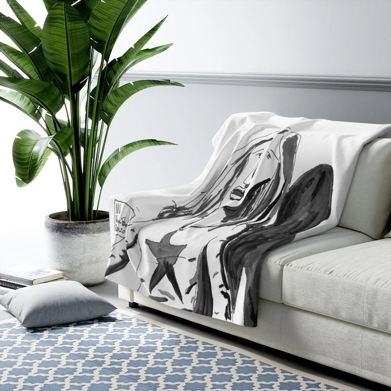 Cool Art Fleece Blanket 6  Retro custom gift aesthetic line image 0