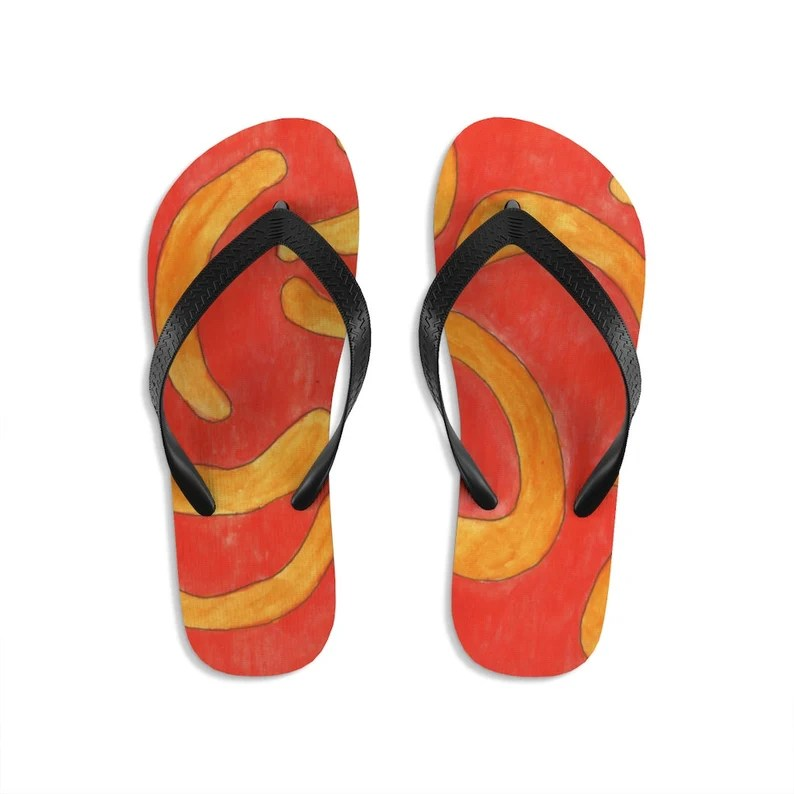 Cool Art Unisex Flip-Flops 11  Retro custom gift handmade pop image 0